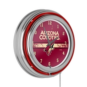 NHL Chrome Double Rung Neon Clock - Arizona Coyotes