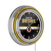 NHL Chrome Double Rung Neon Clock - Boston Bruins