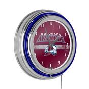 NHL Chrome Double Rung Neon Clock - Colorado Avalanche