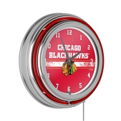 NHL Chrome Double Rung Neon Clock - Chicago Blackhawks