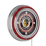 Vintage Chicago Blackhawks Neon Clock - 14 inch Diameter