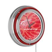 NHL Chrome Double Rung Neon Clock - Watermark - Detroit Redwings