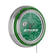 NHL Chrome Double Rung Neon Clock - Watermark - Dallas Stars