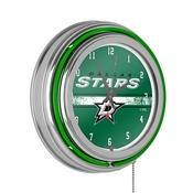 NHL Chrome Double Rung Neon Clock - Dallas Stars