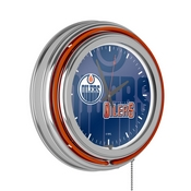 NHL Chrome Double Rung Neon Clock - Watermark - Edmonton Oilers