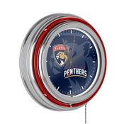 NHL Chrome Double Rung Neon Clock - Watermark - Florida Panthers