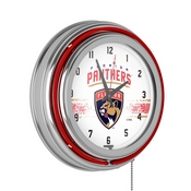 NHL Chrome Double Rung Neon Clock - Florida Panthers