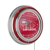 NHL Chrome Double Rung Neon Clock - Watermark - Montreal Canadiens