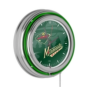 NHL Chrome Double Rung Neon Clock - Watermark - Minnesota Wild