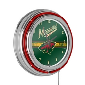 NHL Chrome Double Rung Neon Clock - Minnesota Wild
