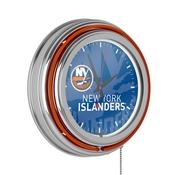 NHL Chrome Double Rung Neon Clock - Watermark - New York Islanders