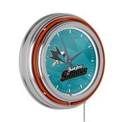 NHL Chrome Double Rung Neon Clock - Watermark - San Jose Sharks