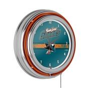NHL Chrome Double Rung Neon Clock - San Jose Sharks