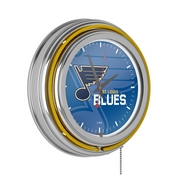 NHL Chrome Double Rung Neon Clock - Watermark - St. Louis Blues