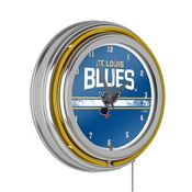 NHL Chrome Double Rung Neon Clock - St. Louis Blues