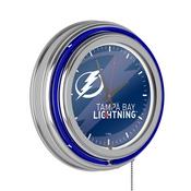 NHL Chrome Double Rung Neon Clock - Watermark - Tampa Bay Lightning