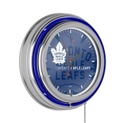 NHL Chrome Double Rung Neon Clock - Watermark - Toronto Maple Leafs