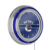 NHL Chrome Double Rung Neon Clock - Vancouver Canucks
