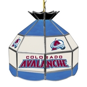 NHL 16 Inch Handmade Stained Glass Lamp - Colorado Avalanche