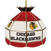 NHL 16 Inch Handmade Stained Glass Lamp - Chicago Blackhawks