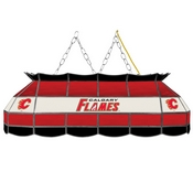 NHL Handmade Stained Glass Lamp - 40 Inch - Calgary Flames